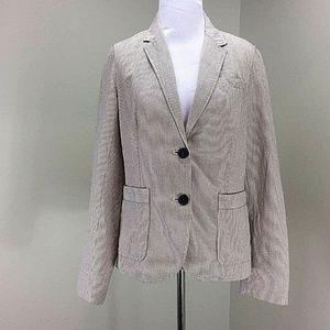 J Crew Blazer 6 Skinny Stripe Cotton Linen